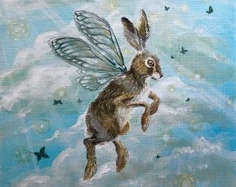 "Original painting: ""The fearless hare"". Hare, fae, faery, wings, enchanted, spiritual, shamanic, art, flying, fearless, spirit animal"
