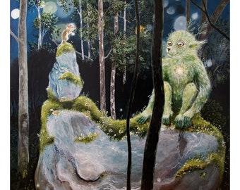 "Gicleé art print: ""Vision quest"". Mouse, creature, moss, rock, nature, shamanism, shamanic, animism, healing, wisdom, spiritual, Nordic"
