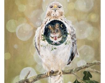 "Giclée art print: ""I have found a gentle heart"". Limited edition. Hawk, buzzard, mouse, kindness, shaman, healing, totem, spirit animal"
