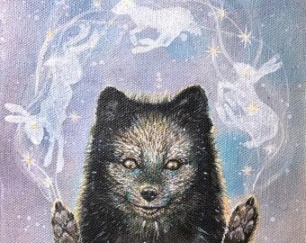 "Original painting on canvas: ""The conjurer"". Polar, fox, black, hare, magic, shaman, shamanic, art, lagopus, Nordic, Scandinavia, animal,"