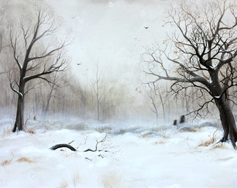 """Art Print: """"Winter Meeting 2"""". Limited edition. Winter, landscape, woods, forest, clearing, woodscape, trolls, creatures, spirits, nordic,"""