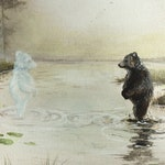 "Art Print: ""Magical Morning"". Bear, bear spirit, animal, brown bear, grizzly, lake, woods, Nordic, Scandinavian, surreal, dream, nature"