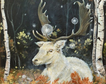 """Original painting: """"Forest of tranquility"""". Stag, deer, white stag, fallow, dama, peace, peaceful, animal, forest, woods, fall, autumn, art"""