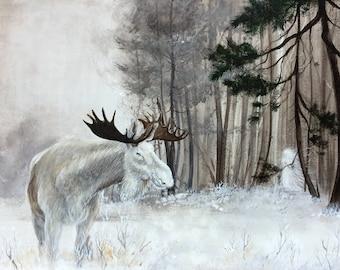 Art Print: Forest Spirit. Limited edition, moose, white, spirit, forest, woods, nordic, lore, winter, snow, scandinavian, magic, realism
