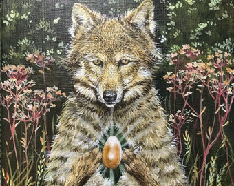 """Original painting: """"The future is golden"""". Wolf, lupus, spirit animal, power animal, totem, golden, egg, future, acrylic painting on canvas"""