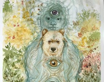 "Original watercolor: ""Spirit creature"". Spirit, bear, eyes, nawi, nawis, teqse, nustas, shaman, shamanic, art, fall, autumn, nature"