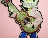 Large 10 3 4 Inch Embroidered Retro Elvis Rockabilly Skull, Iron On Applique Patch, Calavera, Dia de los Muertos, Day of the Dead, Mexican
