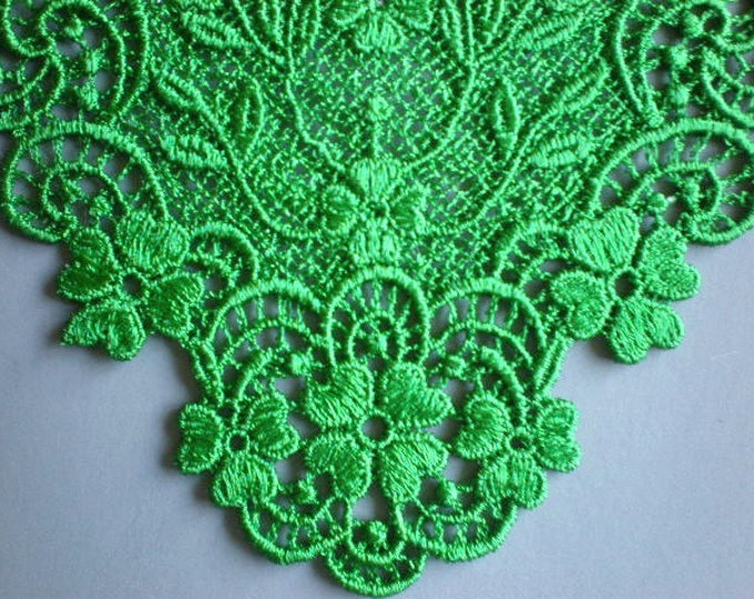 Lace Collar Neckline or Jewelry Patricks Day Kelly Green Embroidered Irish Lace Applique St