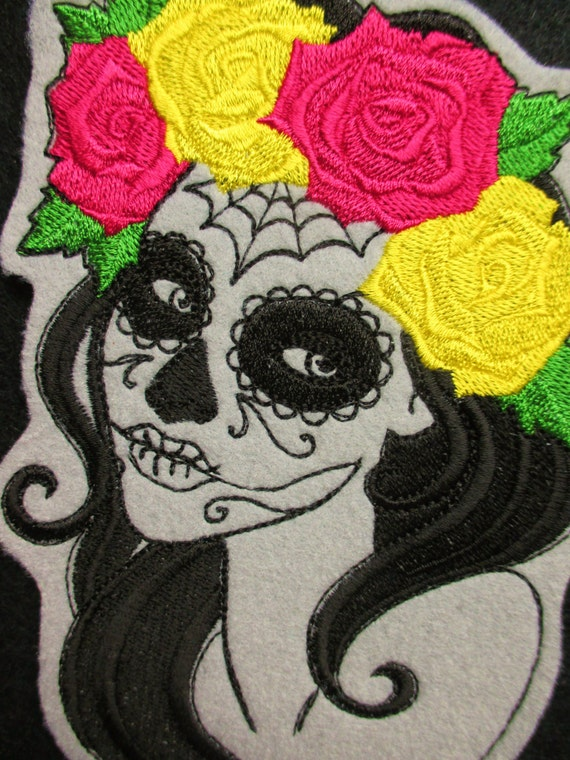 Embroidered Sew on patch Large Design Day of the dead Face