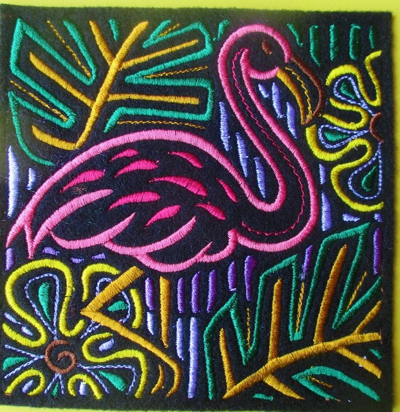 flamingo mola applique
