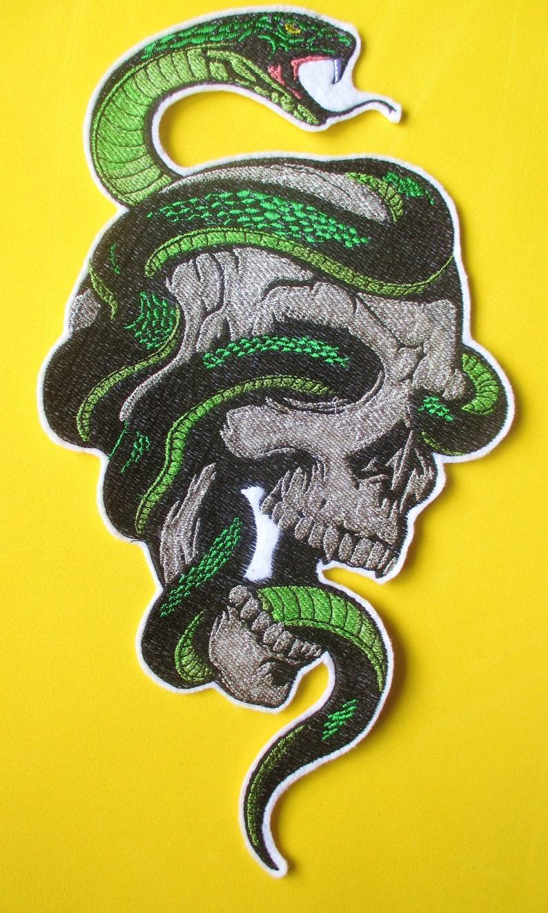 Jumbo Brodé Crâne Et Serpent Applique Patch Patch Militaire Etsy
