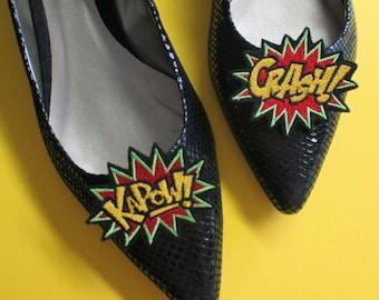 Embroidered Super Hero CRASH and KAPOW  Shoe Clips,  Comic Book Shoe Clips, Hero Shoe Clips