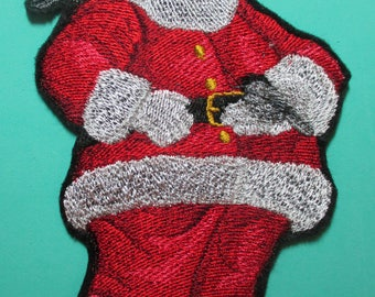 Large Embroidered Santa Clause Applique Patch, Iron On or Sew On, Home Decor, Clothing, Crafts, Christmas Decoration, Santa and Chickadees