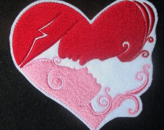 Large Embroidered Valentine Heart with Couples Profile, Young Lovers, Pink Red Heart, Valentines Day, Crafts, Quilts, Mug Rugs, Weddings Too