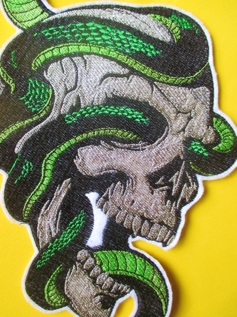 JUMBO Embroidered Skull and Snake Applique Patch Sew On Patch Jacket Patch Iron On Green Snake Military Patch Vest Patch Biker Patch