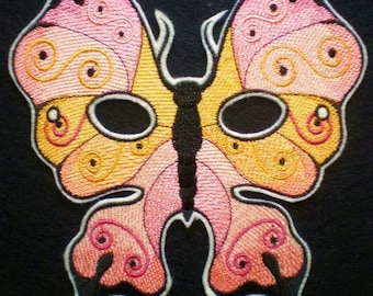Embroidered Full Face Butterfly Mask, Halloween Mask, Masquarade Mask, Mardi Gra Mask, Costume Mask