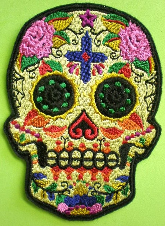 3 Patch Iron Skull Mexican Embroidered Aztec Sugar or Sew Applique Shirt DIY