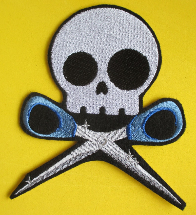 Gothic Patch Large Embroidered Skull with Scissors Applique Patch Iron On Running  with Scissors Skeleton Sew On Skully and Scissors