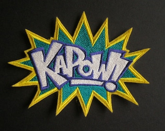Large Embroidered Iron On Patch, KAPOW,  Super Hero Patch