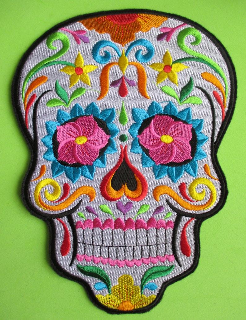 Mexico Gothic Skeleton Embroidered  Dog Calavera Day of the Dead Dia de los Muertos Mexican Sugar  Skull Applique Patch Biker Patch