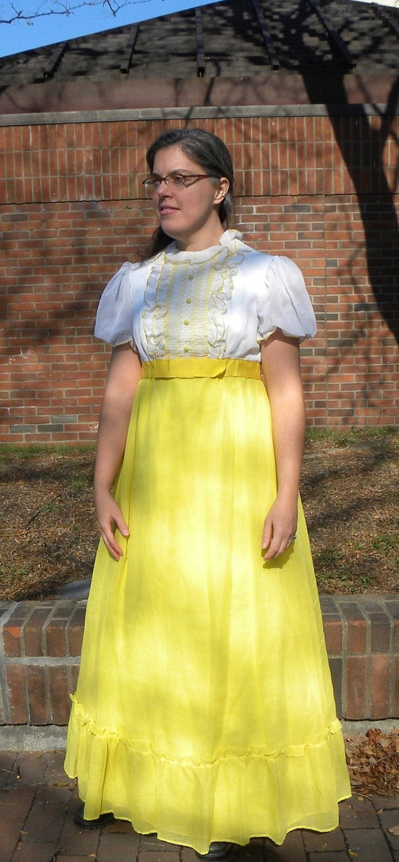 Yellow 70s Empire Waist Maxi Dress