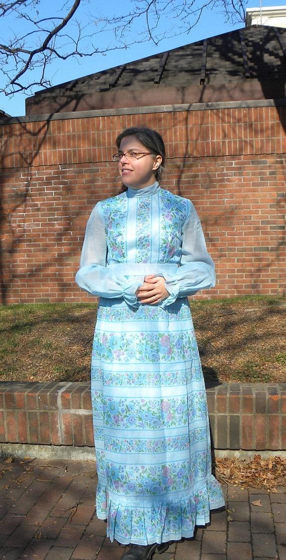 Blue Empire Waist Maxi Dress