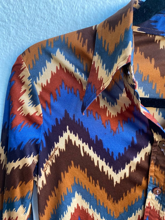 Vintage 1970's Graphic Disco Poly Blouse Top