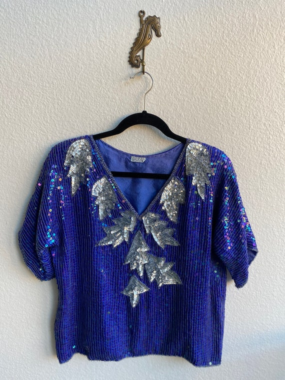 Vintage Boxy Silk Blue and Silver Sequin Top Blous