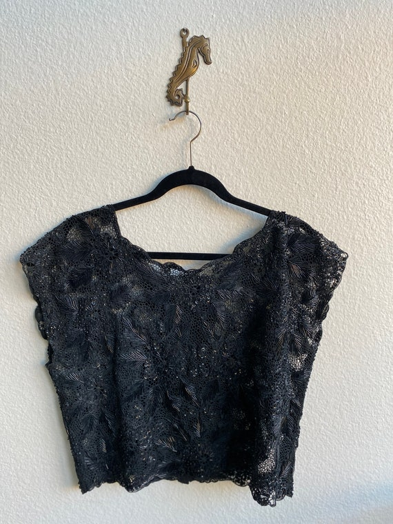 Vintage Heavily Beaded Sequined Sheer Blouse Top