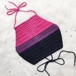 Bisexual Pride Flag Halter Top - Crochet Crop Top - Bi Pride - LGBTQ - Vegan Clothing - Handmade in USA - Made to Order - Noelebelle