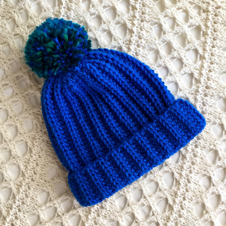 Bright Blue Beanie with Pom Pom - Ultramarine - Cozy Crochet Cap ... d254a541416