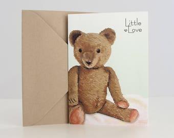"""Baby Card, """"Vintage Teddy Bear"""" + Brown Envelope (5x7"""") Item 42307"""