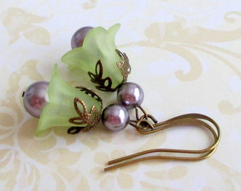 dangle and drop vintage style violet earrings brass and bronze Neo victorian purple earrings gift for her antique style jewelry
