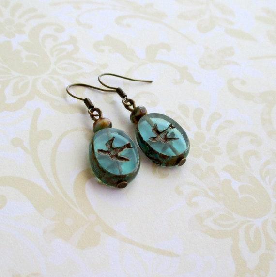 Bird earrings  Swallow jewelry  Vintage style  Nature accessories  Art Nouveau  Romantic Victorian  Rustic boho  Bohemian cottagecore