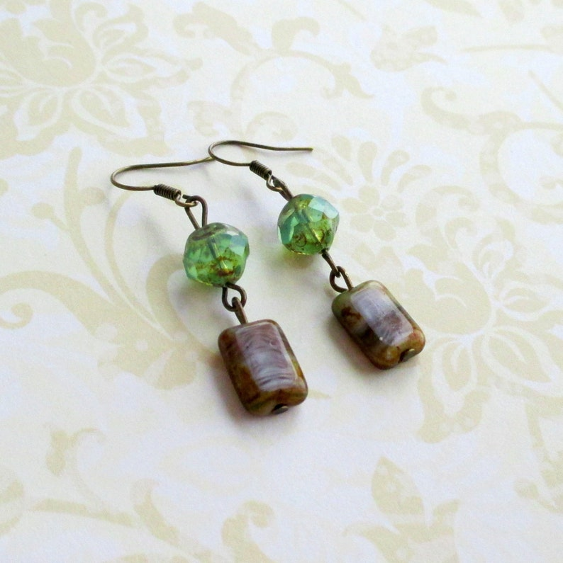 Green purple glass earrings  Antiqued brass jewelry  Nature accessories  Rustic boho  Earthy bohemian  Whimsical woodland  Cottagecore