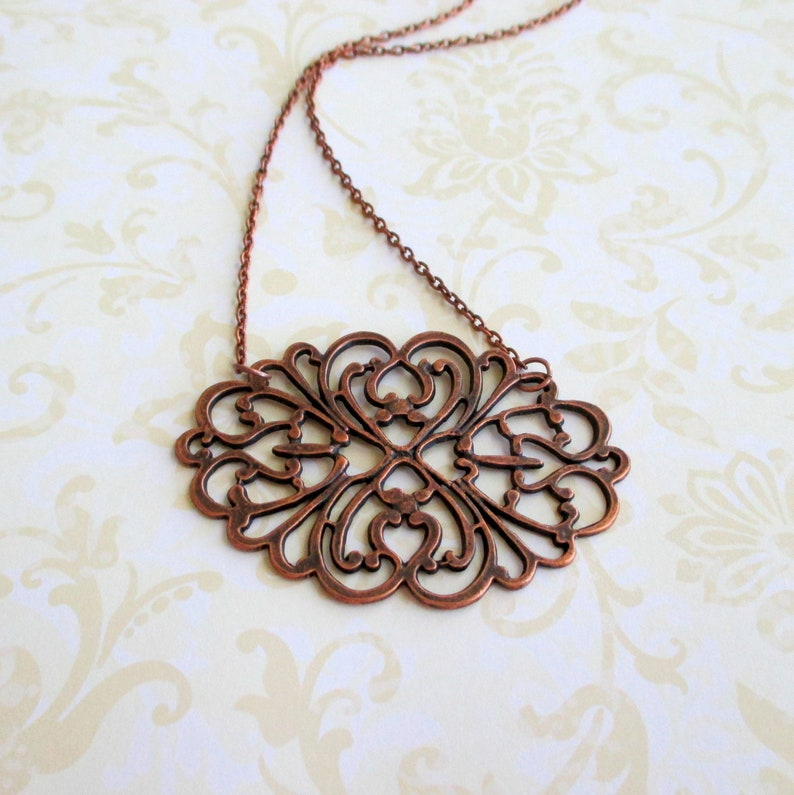 Shabby chic Vintage style necklace Metal lace jewelry Romantic boho jewelry Antique copper filigree necklace Organic rustic necklace