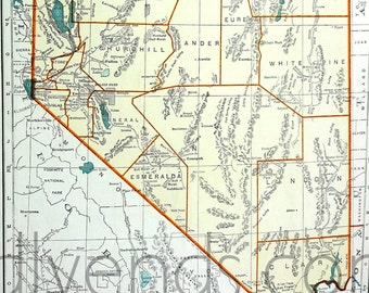 Vintage Nevada Map, 1939 Original Atlas Antique, Reno, Las Vegas, Area 51