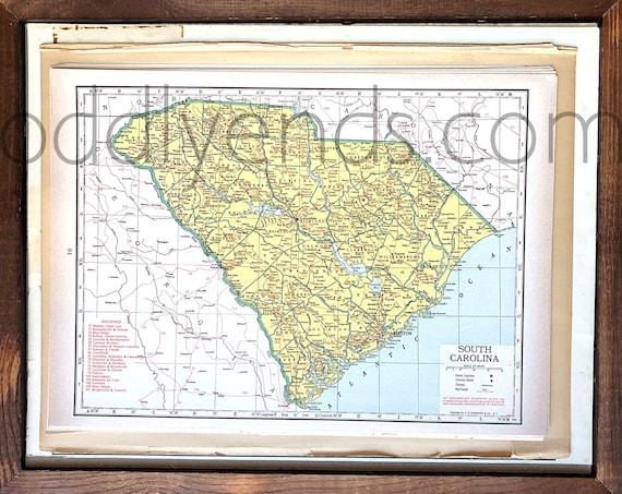 Vintage South Carolina Map.Vintage South Carolina Map 1945 Original Atlas Antique Etsy