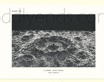1900's Lunar Crater, Original Vintage Space Astronomy Print