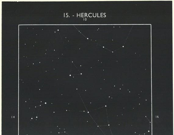 1950 S Hercules Constellation Original Vintage Star Chart Space Astronomy Print Ref15