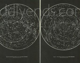 1950's SET OF 2 Original Stars & Constellations Maps Hemispheres Vintage Astronomy Astrology Prints