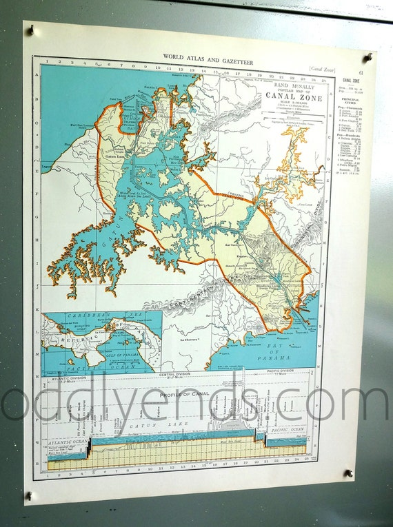 1939 panama canal atlas map etsy gumiabroncs Images