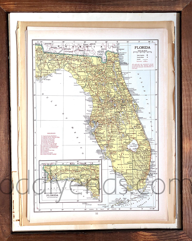 Coral Bay Florida Map.Vintage Florida Map 1945 Original Atlas Antique Miami Etsy