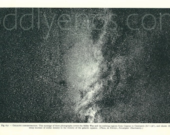 1950's Milky Way & Other Galaxies, Original Vintage Astronomy Space Astrology Print (ref631)