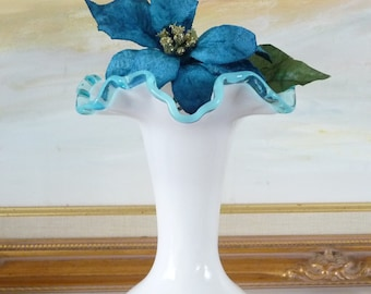 Fenton Aqua Crest White Opaline Vase Clear Blue Ruffle Top Milk Glass Flower Vase 1940s from TreasuresOfGrace