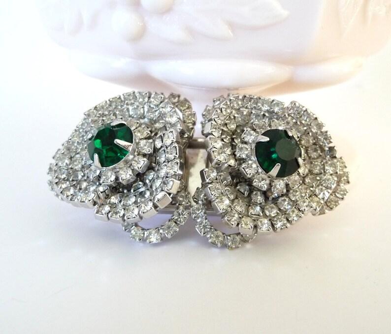 ec8908fd5 Rare Hattie Carnegie Brooch Duet Pin Book Piece Emerald Green   Etsy
