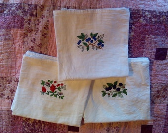 Machine Embroidered Flour Sack Berry Dish Towels Set 1