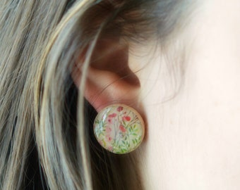 Large Pink Flower Stud Earrings, 3/4 inch Post Earrings Hypoallergenic Studs - Spring Fashion, Gift for her womens gift