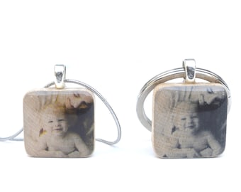 Photo Keychain and Necklace set. Gift for Mother and Father. New Mom and Dad gift