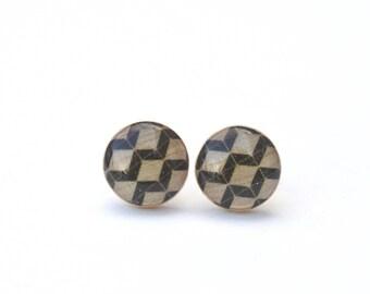 Geometric Black Stud earrings, Hypoallergenic earrings